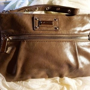 Express Wristlet Front Zipper Brown.
